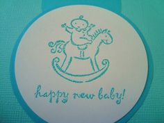 Baby Shower Blue card for a boy rocking horse handmade by Wcards, $3.00