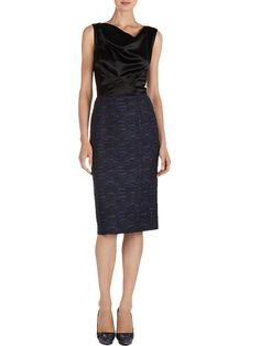 Nina Ricci Sleeveless Dress in Charmeuse and Tweed