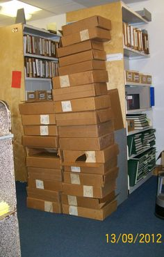 Pile of boxes for unbound sheet music, photographed by Clemens Gresser.
