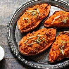 Twice-Baked Sweet Potato with Bacon and Green Onions