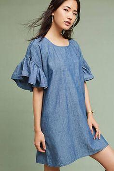Chambray Ruffled Dress