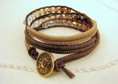 Ombre Beaded Macrame Bracelet with Brown Leather by MaisJewelry