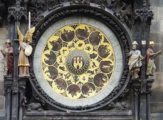 The Orloj or Astronomical Clock on the Old Town City Hall in Old Town Square in Prague, Czech Republic - Stock Image Prague Clock, Prague Astronomical Clock, Prague Old Town, Santa Sede, National Gallery, Medieval World, Old Town Square, 15th Century, Czech Republic