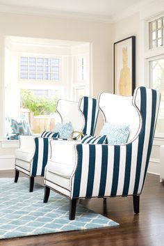 Blue White Striped Wingback