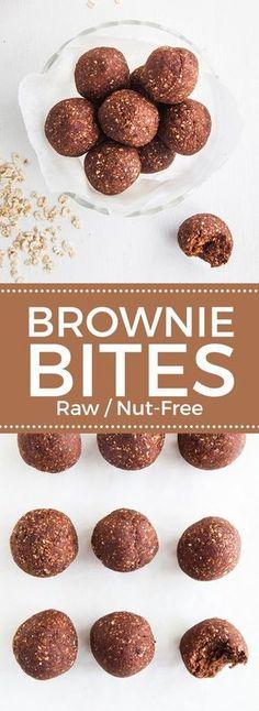 Raw Chocolate Brownie Bites (Nut-free) INGREDIENTS 1 cup oats (gluten-free, if needed) 3 tbsp raw ca Vegan Sweets, Healthy Sweets, Vegan Snacks, Healthy Baking, Vegan Dinners, Nut Free Snacks, Healthy Snacks, Healthy Breakfasts, Protein Snacks