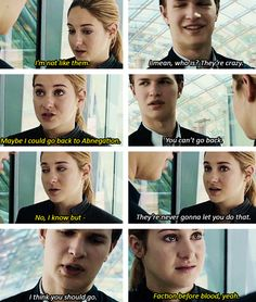 Tris and Caleb I watched the movie and I loved it and went to read the book and I just started reading the insurgent and went to watch the movie again . the only thing I can say is that caleb should have die than his parents~ Divergent Memes, Divergent Fandom, Divergent Trilogy, Divergent Insurgent Allegiant, Divergent 2014, Insurgent Quotes, Tfios, Veronica Roth, Allegiant