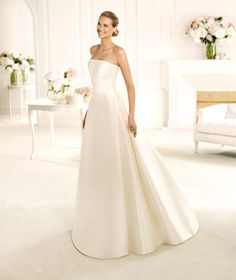 Pronovias Iman A-line Fully Lined Lace Off-the-shoulder Half Sleeve Satin Wedding Dresses