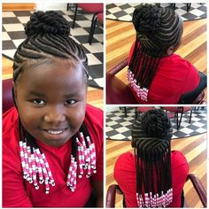 Braided Hairstyles For Kids: 43 Hairstyles For Black Girls - - braids - Box Braids Hairstyles, Lil Girl Hairstyles, Girls Natural Hairstyles, Kids Braided Hairstyles, Hairstyles Videos, Wedding Hairstyles, Bangs Hairstyle, Black Hairstyle, Girl Hairstyles
