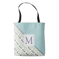 Light Blue Aubergine Flower Pattern With Monogram Tote Bag - patterns pattern special unique design gift idea diy