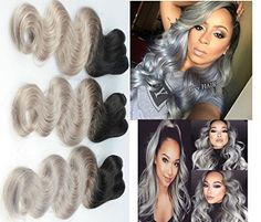 Silver Grey Ombre Human Hair Extensions Brazilian Virgin Hair Weft Ombre Grey Body Wave Hair 3 Bundles Two Tone Grey Weave total Black Gray 12 14 16 ** More info could be found at the image url. Ombre Human Hair Extensions, Flaky Skin, Grey Ombre, Black And Grey, Gray, Total Black, Body Wave Hair, Hair Weft