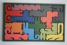 Zoo - jeu, puzzle et casse-tête en bois découpé (pentomino) : Jeux, jouets par decosiluetas