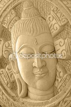 Thai Art of Sand Sculpture of Buddha Face. Buddha Face, Sand Sculptures, Thai Art, Stock Photos, Statue, Illustration, Image, Illustrations, Sculptures