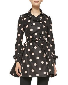 T92K3 RED Valentino Polka-Dot Belted Trench Coat