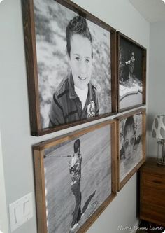 To Make A Giant Hallway Frame Gallery Easy wooden frames for engoneer prints!Easy wooden frames for engoneer prints! Picture On Wood, Picture Wall, Diy Picture Frame, Homemade Picture Frames, Rustic Picture Frames, Photo Wall, Little Boys Rooms, Big Boy Rooms, Large Wood Wall Art