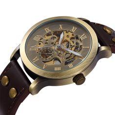 $16.99 (Buy here: https://alitems.com/g/1e8d114494ebda23ff8b16525dc3e8/?i=5&ulp=https%3A%2F%2Fwww.aliexpress.com%2Fitem%2FFashion-Bronze-Roman-Number-Steampunk-Skeleton-Dial-Mechanical-Wrist-Watch-With-Brown-Genuine-Watch-Strap-For%2F32653415111.html ) Fashion Bronze Roman Number Steampunk Skeleton Dial Mechanical Wrist Watch With Brown Genuine Watch Strap For Men Women for just $16.99
