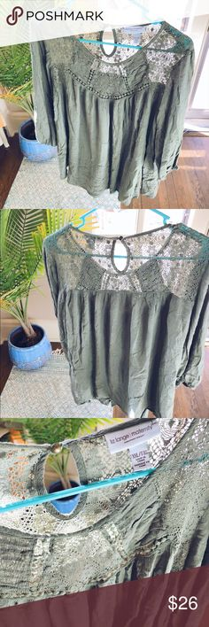 Moss Green Crochet Bohemian Blouse Top C77 Cozy and so soft!!  Maternity but can be worn regularly as well!  Perfect when paired with light washed high waisted distressed boyfriend shorts for Spring!!   - Item flaws are always disclosed in the description - I am 5'4 for height reference - All orders ship same day or next depending on the time of purchase!!  - Thank you SO much for shopping my closet in advance!! 🌿🌿🌿🌿🌿🌿🌿🌅🌅🌅🌅🌅🌅🌅🌞🌞🌞🌞🌞🌞🌞🌻🌻🌻🌻🌻🌻🌻🍄🍄🍄🍄🍄🍄🍄 Liz Lange…