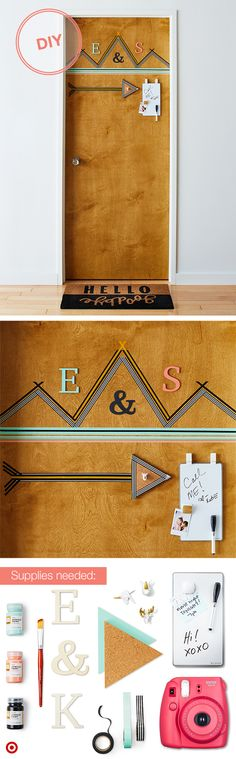 "Nothing says ""let's be friends"" like a personalized college room door. To create this look, get creative with Washi tape. Add wooden Spritz letters (painted in your fave colors), a triangle cork board and a mini whiteboard, all hung with 3M command hooks and strips. Now, friends can let you know they swung by. Then, complete the look with these fun white and gold animal head push pins. And, don't forget the selfie of your roomie and you."