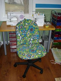 As part of my craft room makeover , I made a slipcover for my office style chair. It was a simple project, I will walk you through the steps. It came together faster than I expected and a bit easier. Office Chair Makeover, Mesh Office Chair, Office Decor, Office Chairs, Easy Projects, Home Projects, Sewing Projects, Desk Chair Covers, Seat Covers