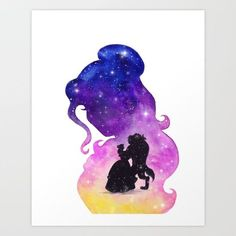 Beauty and the Beast Dancing Watercolor Art Print ~ $23 ~ Disney Home Decor!