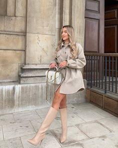 Zara Fashion, Cozy Fashion, Style Fashion, Fall Winter Outfits, Autumn Winter Fashion, Winter Style, Fashion Fall, Beige Boots, Ootd