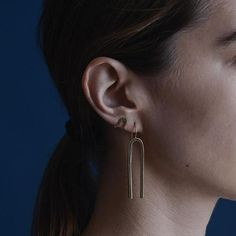 4d62fc7e0 Brass Minimal Modern Lines Hook Earrings – Michele Varian Shop Solid Brass,  Hand Carved,