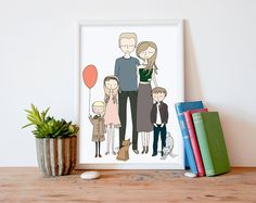 Affordable custom family portraits illustrated by Printable Wall Story