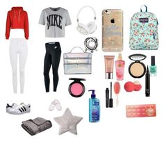 """""""This is some essentials to pack for a sleepover"""" by ladyleahvine on Polyvore featuring beauty, Topshop, adidas Originals, JanSport, NIKE, Dearfoams, Frends, Agent 18, New Look and Eos"""