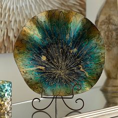 Add a unique display to your living room with the Blue & Gold Glass Starburst Charger. Place it on your console table or bookshelf! Teal Living Rooms, Living Room Plants, Living Room Decor, Blue Home Decor, Unique Home Decor, Home Decor Accessories, Decorative Accessories, Peacock Room Decor, Gold Curtains