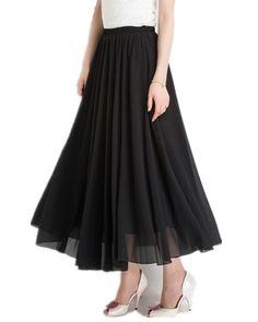 Mullsan Women Retro Vintage Double Layer Chiffon Pleat Maxi Long Skirt Dress (Black), One Size at Amazon Women's Clothing store: