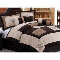 Chezmoi Collection 7 Pieces Luxury Brown, Beige, and Coffee Embroidery Patchwork Comforter Set / Bed-in-a-bag Queen Size Bedding Baby Comforter Set, Bedding Sets, Alaska King Size Bed, Aqua Blue, Bed In A Bag, Bedroom Bed, Bedrooms, Bedroom Ideas, Interior Decorating