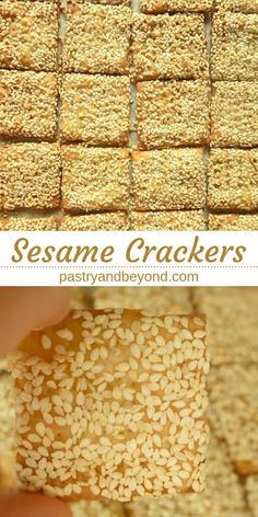 Sesame cookies: these sesame crackers with olive oil are so delicious and easy to make. You can make these vegan snacks with basic ingredients! Healthy Crackers, Homemade Crackers, Healthy Vegan Snacks, Savory Snacks, Snack Recipes, Easy Recipes, Vegetarian Recipes, Healthy Recipes, Sesame Seed Cracker Recipe