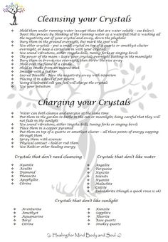 "One of the regular questions Louise and I get at The Crystal Tree is ""How do you cleanse and charge your crystals?"" There is no right or wrong way, you just need to do what feels right for you. Louise has created this fantastic poster which has all the information you need ………."