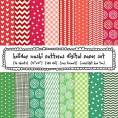 digital paper set christmas holiday washi tape patterns, red and green, design christmas cards, digital photography backgrounds 421