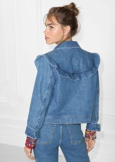 & Other Stories image 3 of Frilled Denim Jacket in Blue Denim Fashion, Womens Fashion, Blazer Jacket, Denim Jeans, Ready To Wear, Model, Cotton, How To Wear, Outfits
