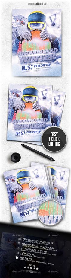 Snowboard Winter Flyer Template PSD #design Download: http://graphicriver.net/item/snowboard-winter-flyer-template/12695144?ref=ksioks