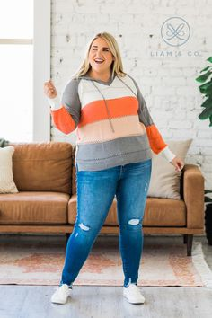 We are so in love with our new Kala Knitted Hoodie, and you will be too! There are so many things we love about it from the color block detail to the knitted texture to the drawstring hoodie, what's not to love? Our top features a v-neck, semi-lose fit, and super soft fabric making it a must-have all season long!