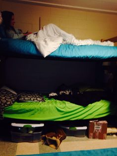 The bunk beds in my dorm room are a simple example of how shape creates space...especially in such a small area! (Don't mind my roommate hanging out on the top bunk)