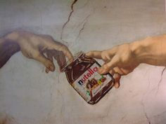 Fun with Art History. Who knew Michelangelo was such a fan of Nutella? Michelangelo, Art Ninja, Mona Lisa, The Creation Of Adam, Cuffing Season, Sistine Chapel, Arte Pop, Creative Advertising, Oeuvre D'art