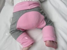 Pink and Gray Cloth Diaper Pants Monster Bunz by Cinderkitten
