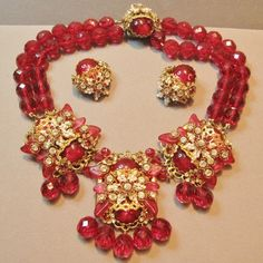 STANLEY HAGLER Necklace with Red Stones and Matching Earrings Set