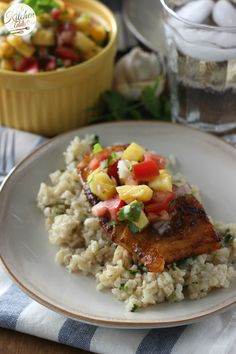 Blackened Cod with Pineapple Salsa Recipe l www.a-kitchen-addiction.com