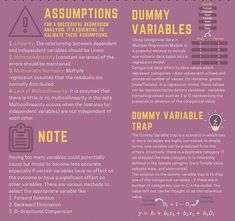 ASSUMPTIONS - For a successful regression analysis, it's essential to validate these assumptions. 1. Linearity: The relationship between dependent and independent variables should be linear. 2. Homoscedasticity: (constant variance) of the errors should be maintained. 3. Multivariate Normality: Multiple regression assumes that the residuals are normally distributed. 4. Lack of Multicollinearity: It is assumed that there is little or no multicollinearity in the data. Source: Avik Jain
