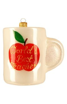 Nordstrom at Home 'World's Best Teacher Mug' Handblown Glass Ornament available at #Nordstrom