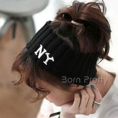 $5.13 Fashion Sports Letters Hair Band Elastic Knitting Hair Band Casual Cotton Stretch Hairband - BornPrettyStore.com