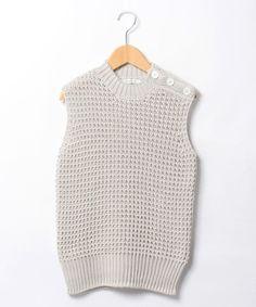 ShopStyle(ショップスタイル): TOMORROWLAND コットンワッフル ノースリーブニット Womens Golf Wear, Knit Fashion, Womens Fashion, Ladies Golf, Crochet Top, Dressing, Shoe Bag, Knitting, Craft