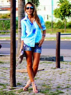 blue sky shirt with denim shorts