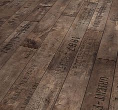 Love this rustic Wine and Fruit Flooring from German flooring company Parador. The pattern was inspired by flooring found in old European cellars, which were often made of wood from discarded wine crates with fired-on inscriptions and dates.  I've found the floor, now all I need is a wine cellar to put it in!