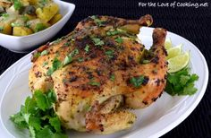 Poblano, Cilantro and Lime Roast Chicken Small Food Processor, Food Processor Recipes, Whole Baked Chicken, Greek Yogurt Recipes, Roast Chicken Recipes, Cooking Recipes, Healthy Recipes, Lime Chicken, How To Make Breakfast