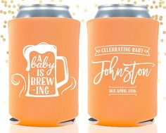 Baby Shower a Baby is Brewing Custom Can Cooler Beer Cozy by TheDrinkingBuddy on Etsy https://www.etsy.com/listing/261277623/baby-shower-a-baby-is-brewing-custom-can