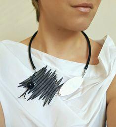 Contemporary jewelry Bib statement necklace Black by PevalekArt